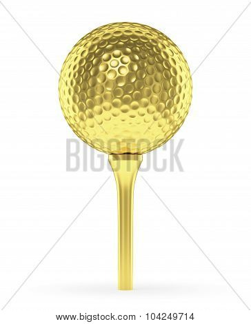 Golden Golf Ball On Tee Isolated On White