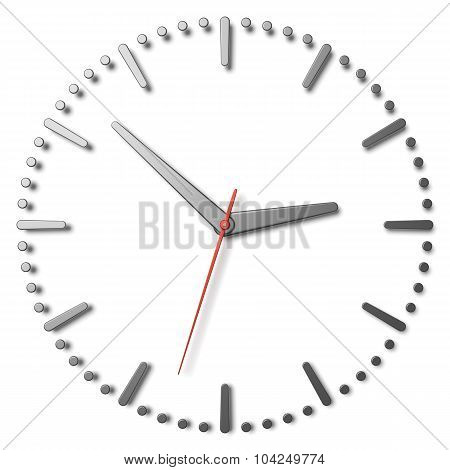 Simple Clock Face With Metal Hands And Marks And Red Second Hand