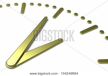 Simple Clock Face With Yellow Metal Hands And Marks Diagonal View