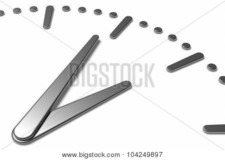 Simple Clock Face With Metal Hands And Marks