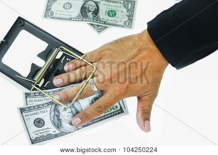 Trap with dollar bills isolated over white background, Risk in business, Businessman taking money