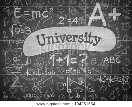 The word university and school doodles against black background