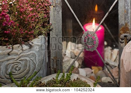 Pink candle and winter season