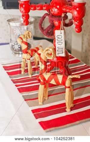 Christmas setting with straw goats