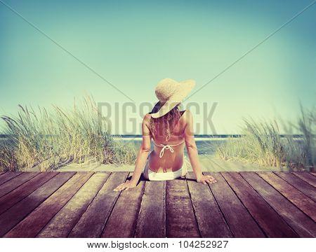 Woman Wearing Bikini in a Summer Vacation Concept