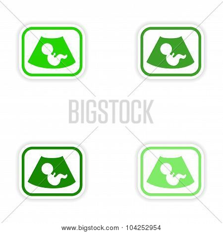 Set paper stickers on white background baby ultrasound