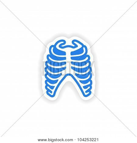 paper sticker on white background bone ribs