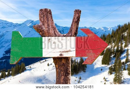 Italy Flag wooden sign with winter background