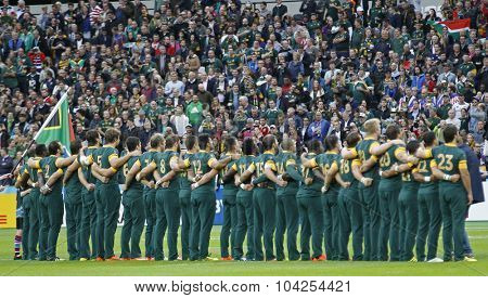 LONDON, ENGLAND - OCTOBER 07 2015: The 2015 Rugby World Cup Pool B match between South Africa and USA at The Stadium on October 7, 2015 in London, United Kingdom