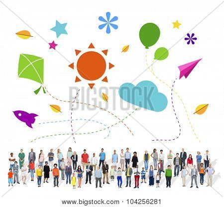 Large Group of Multiethnic People with Leisure Symbols
