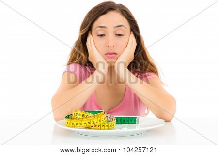 Diet Woman With Supplement Pills And A Measurement Belt