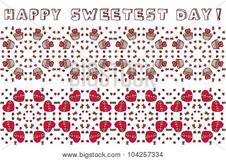 Set of seamless borders for Happy Sweetest Day