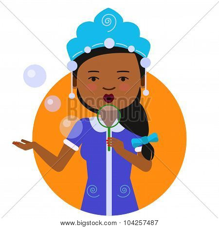 African American woman blowing bubbles