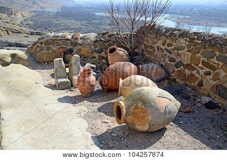 Kvevri - Ancient Clay Vessels For Wine In The Cave City Uplistsikhe, Georgia