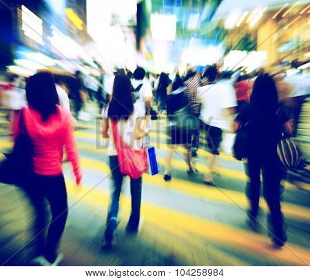 Hong Kong People Motion Pedestrian Crosswalk Concept