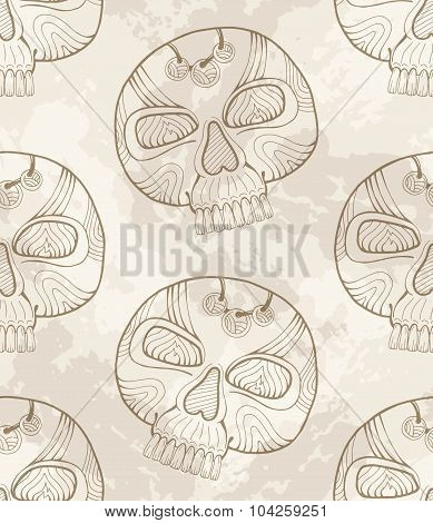 Mexican Dia De Los Muertos Grunge Skull Pattern, Vector Mexico Day Of The Dead Calavera Background