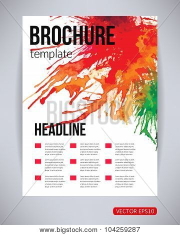 Vector brochure and flyer, poster template with watercolor paint green, red, yellow splash and drops