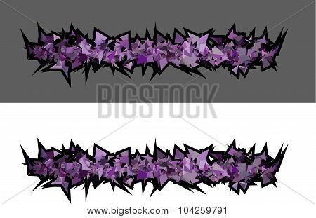 Graffiti Abstract Purple Spiked Shape Pattern On White