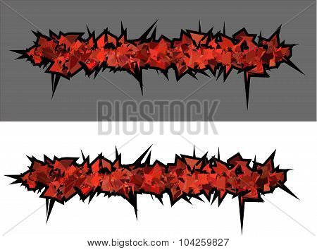 Graffiti Abstract Red Spiked Shape Pattern On White