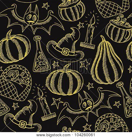 Vector Graphic Halloween Pattern Golden On Black, Hand Drawn Halloween Background With Pumpkins, etc