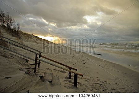 Sand Dunes Of The Curonian Spit At Sunset, The Baltic Sea, Kaliningrad Oblast, Russia