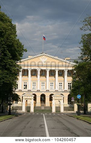 St. Petersburg, Russia - June 27, 2008: Facade Of Smolny Institute, Now Is The Residence Of The Gove