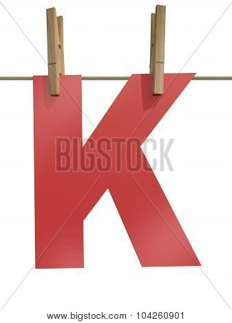 Rope With Clothespin And Letter K