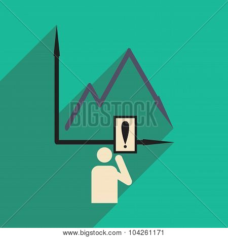Flat design modern vector illustration icon falling graph and people