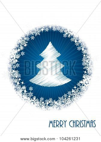 White Christmas Greeting Card With Bursting Christmastree