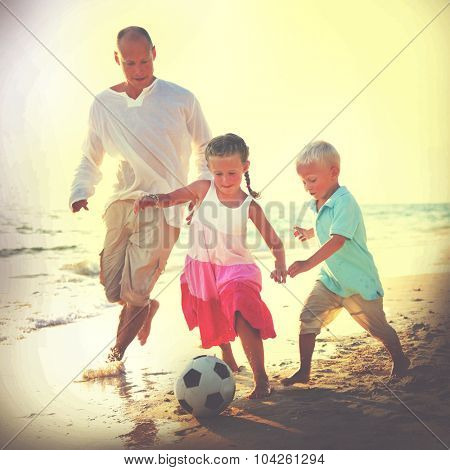 Father Kids Playing Football Together Summer Leisure Concept