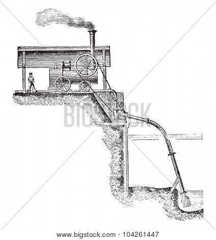 Pump applied to an exhaustion work, vintage engraved illustration. Industrial encyclopedia E.-O. Lami - 1875.