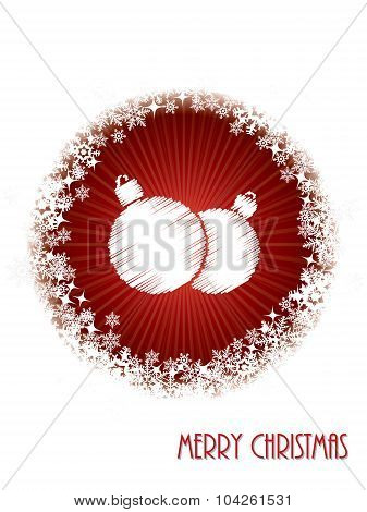 White Christmas Greeting Card With Bursting Decoration From Red Circle