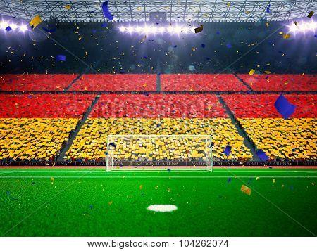Flag Germany of fans. Evening stadium arena Blue