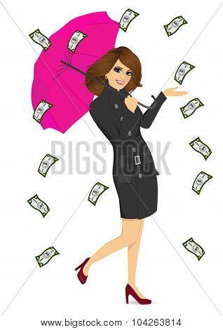 brunette woman holding big purple umbrella