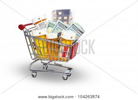 prescription bottle and money in cart