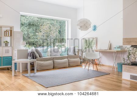 Living Room And Big Window