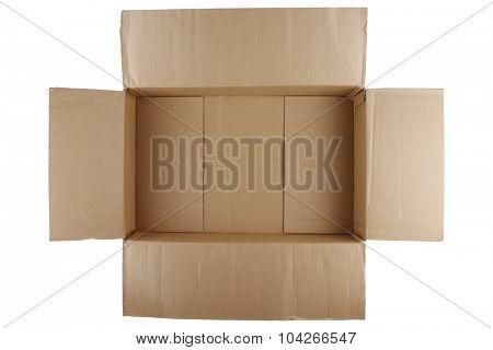 Open empty cardboard box on white background