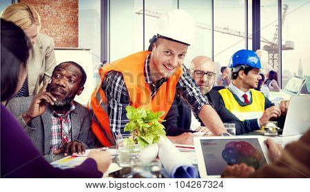 Construction Worker Professional Occupation Planning Working Concept