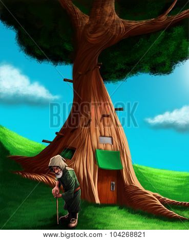 A Gnome In Front His Magical Tree House