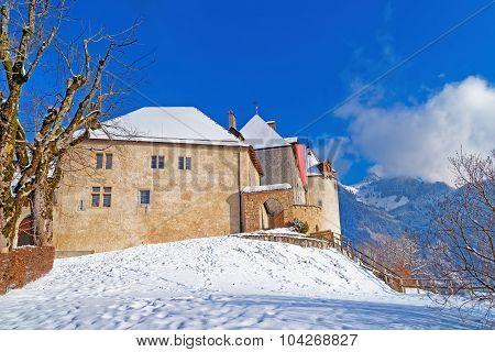 Famous Castle Of Gruyeres In Switzerland
