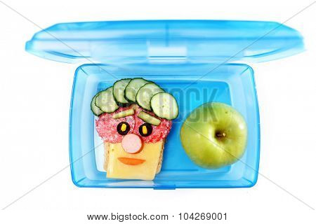 Funny sandwich in box isolated on white