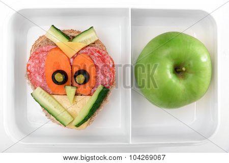 Funny sandwich in box closeup