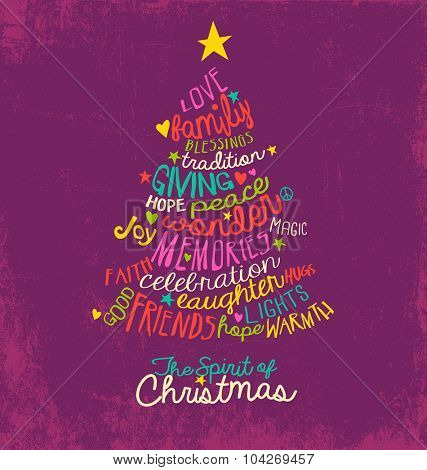 handwritten word cloud Christmas tree greeting card design