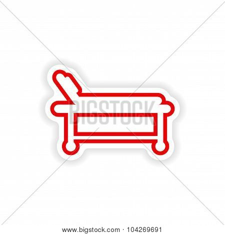 paper sticker on white background hospital stretcher