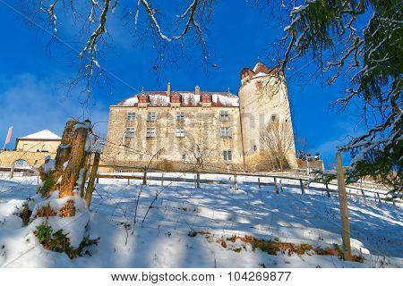 Medieval Castle Of Gruyeres In Switzerland