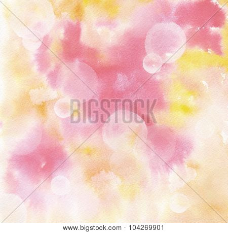 Abstract pink and yellow watercolour background texture with bokehs