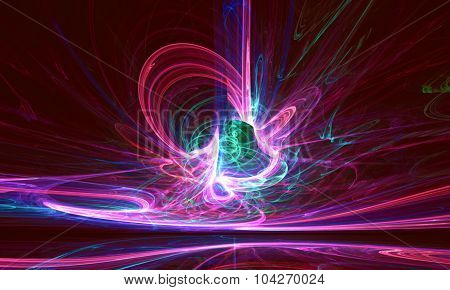 Mysterious alien form colorfull magnetic fields in the dark night sky. Fractal art graphics