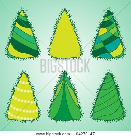 Christmas Decorative Isolated Tree. Stock Vector