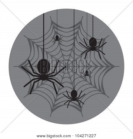 Spiderweb With Spiders Icon. Flat Design Vector Illustration