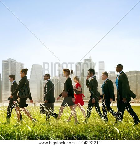 Business People Commuting Walking Outdoors Concept